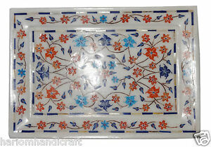 """7""""x10"""" Marble Serving Tray Plate Hakik Marquetry Floral Inlay Table Décor H1276"""