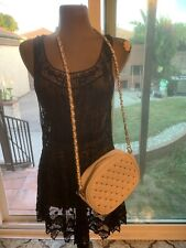 Beige Crossbody Handbags Forever 21 Gold Studs Oval Creme Color Purse Bag