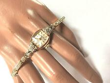 Art Deco Bulova La Petite Armbanduhr Damen gelbgold 10 K Gold RGP 2 Diamanten