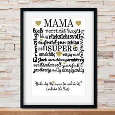 ✿ Kunstdruck Bild Poster Spruch MAMA DANKE MUTTERTAG Geschenk personalisiert A4