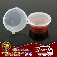 Clear Plastic Reusable Sauce Containers Cups with Lids For Takeaway 2oz UK