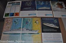 1960-64  Moore-McCormack advertisements x6, cruise ship, Rio De Janeiro Brazil