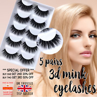 5 Pairs 3D False Eyelashes Thick Wispy Cross Long Mink Soft Fake Eye Lashes