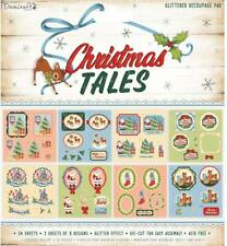 Dovecraft ~ Decoupage Pad ~ 24 - 8x8 sheets glitter effect ~ Christmas tales
