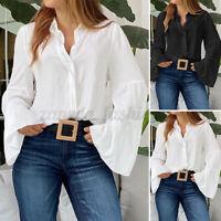 ZANZEA Femme Chemise Boutons Manches  à volants 100% coton Belle Shirt Tops