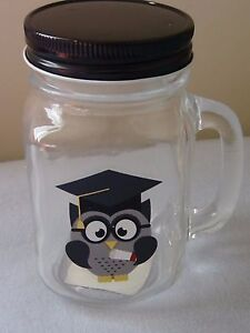 Graduation Mason Jar Glass Mug Graduate Owl