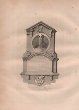 1782 ANTIQUE PRINT - ROCHESTER, KENT, MONUMENT OF RICHARD WATTS ESQ