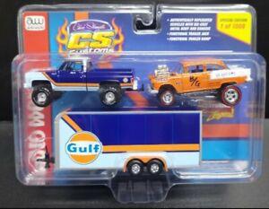 Auto World CS Custom Exclusive 1st  GULF SET 4x4 Silverado & JL Zinger 55 Gasser