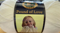 NEW Lion Brand Pound Of Love, Anitque White, 1020 Yds, Unopened Plastic Wrapping