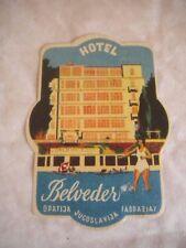 Vintage Luggage label Hotel  Belveder Yugoslavija 1950s