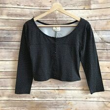 URBAN OUTFITTERS PINS & NEEDLES CROPPED CARDIGAN SWEATER BLACK WHITE DOTS SZ MED