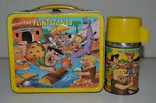 Vintage 1964 Yellow The Flintstones TV Show Metal Lunchbox & Thermos Set C7++