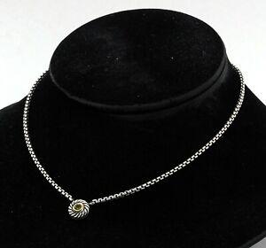 David Yurman 14K YG/925 Sterling silver 0.50CT peridot pendant necklace