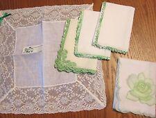 IRISH Linen Hankies Lot 5 Green Lace Crochet Tatted Ireland Swiss Wedding Bride