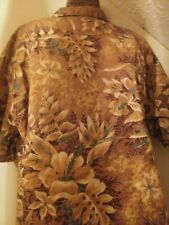 VINTAGE 1940s Men's Linen HAWAIIAN SHIRT old Made in HAWAII Label AWESOME Floral