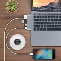 6-In-1 Dual Type-C to USB-C USB 3.0 Hub TF SD Card Reader for Macbook Pro