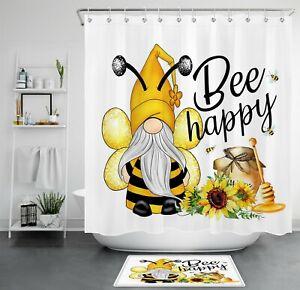 "71"" Cute Bee Gnome Elf Spring Sunflower Shower Curtain Bathroom Accessory Sets"