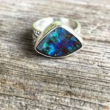 New Women's Handmade Jewelry Streling Silver Band & Australian Opal Stone Ring