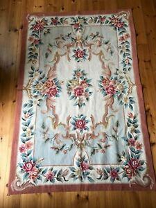 Handmade Decorative Needlepoint Floral Aubusson Design Rug 120cm x 180cm