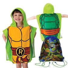 TMNT Ninja Turtles Kids Boys Hooded Poncho Beach Towel Cotton + Sling Bag NEW