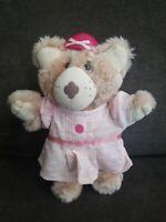 CUTE VINTAGE 1988 GRAPHICS INTL TEDDY BEAR PINK DRESS STUFFED ANIMAL PLUSH TOY