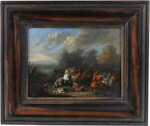 Battle Scene Old Master Oil Painting by Jasper Broers (Flemish, 1682-1716)