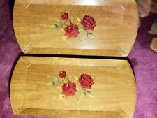 (2) Vintage Mid Century Art Deco Hasko Haskelite Lap Serving TV Tray litho roses