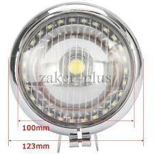 """5"""" Chrome Motorcycle Headlight Spot Light White LED Angel Eye For Kawasaki VN"""