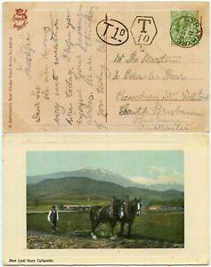 SCOTLAND to AUSTRALIA 1911 STRATHYRE VFU CDS + POSTAGE DUE T1d TAXE 10L BRISBANE