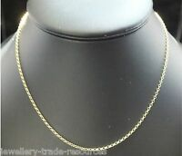 "9CT YELLOW GOLD NECKLACE BELCHER CHAIN OR PENDANT 16"" 18"" 20"" INCH 1.7mm WIDE"