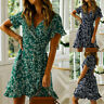 Womens Floral V Neck Holiday Wrap Dress Ladies Boho Beach Party Mini Sundress
