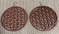 Tan Brown Bohemian Pattern wood double sided Hoop Ethnic urban Earrings jewelry