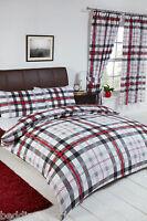 STANFORD BLACK GREY RED WHITE TARTAN CHEVRON CHECK MODERN BEDDING OR CURTAINS