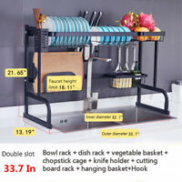 Over The Sink Single Tier Dish Drying Rack Stainless Home Kitchen Cutlery Holder