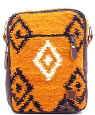Urban handmade fire traveler bag natural wool and leather cross-body strap