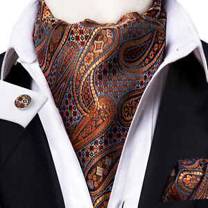 Mens Silk Ascot Orange light Blue Paisley Floral Cufflinks Hanky Cravat Set