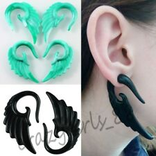 1Pair 6mm Lady Green Resin Wing Ear Plug Expander Spiral Stretcher Body Piercing
