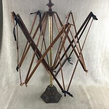 Antique Wool Winder Victorian Brass & Wood Spinner  Large Umbrella Cast Iron