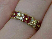 2Ct Round Cut Red Ruby & Diamond Women's Engagement Ring 14K Yellow Gold Finish
