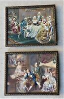 NO RESERVE Two Watercolour Portrait Miniatures of a Court Scene Vintage