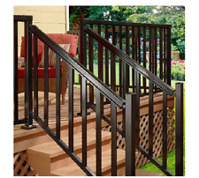 Peak Aluminum Railing 6 ft. Aluminum Stair Hand and Base Rail Black Deck Porch