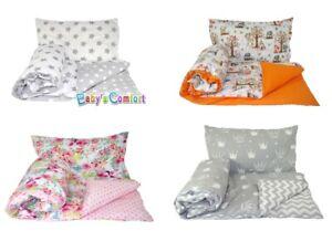 Baby Reversible Duvet Childrens Bedding 2/4 Pieces Set Bed Set 24 Colors