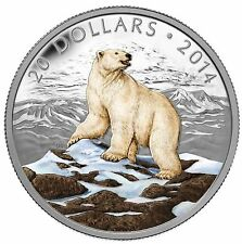 CANADA 2014 - Pure Silver Colourized $20 Iconic Polar Bear - Awesome Coin!