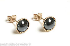 9ct Gold Hematite Stud earrings Made in UK Gift Boxed