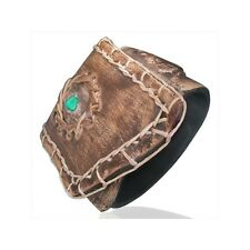 Genuine LEATHER MINI POCKET Snap Wristband BRACELET  w/ Turquoise Bead - BBL281
