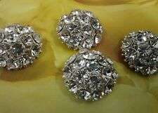 23 mm Half Dome Crystal Rhinestone Silver Metal Buttons, Bridal Embellishment 10