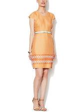NWT Anthropologie Moncollet Linen Printed Cap Sleeve Shift Dress Peach Sz2 $258