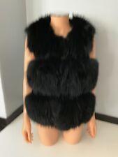 Black Raccoon Fur & Suede Leather Gilet Body Warmer Sixe Xl Uk 10/ 12 Vgc