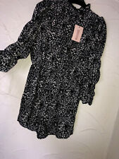 New Missguided Dark Floral Long Sleeved Ruched Playsuit Size 12