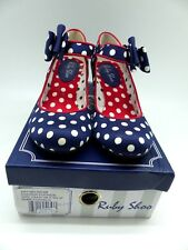 Ruby Shoo Mary Jane Heel with bow.  Blue Spots with red trim UK4/EUR 37